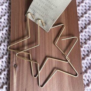 Anthropologie Gold Star Hoop Earrings